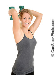 blond woman with free weights - isolated blond woman with...