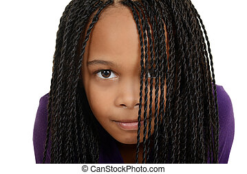 young black child with braids - isolated young black child...