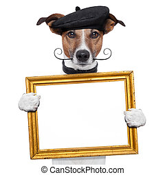 painter artist frame holding dog - painter artist frame...