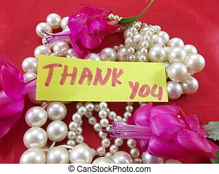 word thank you - word thankyou and pearls