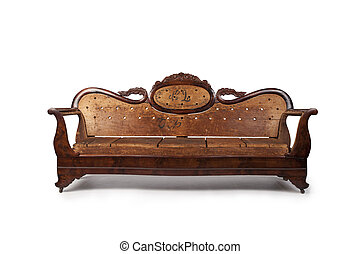 Antique Wooden Couch - A beautiful antique wooden couch is...