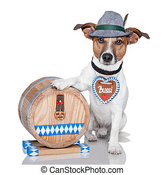 oktoberfest dog with beer barrel and gingerbread heart
