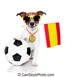 dog as soccer with spanish flag - dog as soccer with medal...