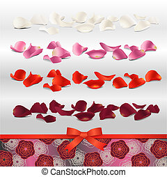 rose petals for wedding design - red, purple, pink and white...