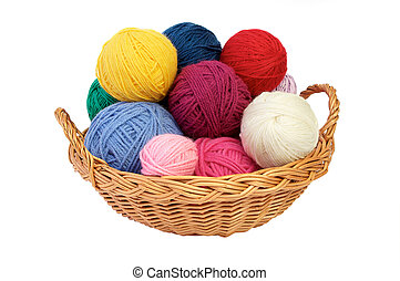 Colorful knitting yarn in a basket
