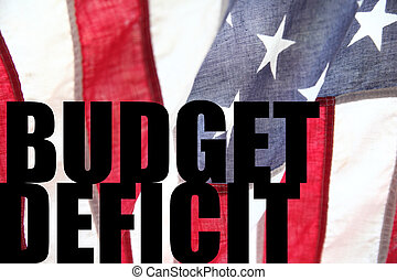 USA flag with budget deficit words