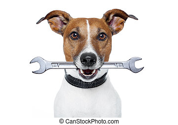 craftsman dog with a wrench