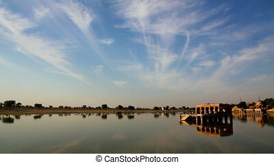 landscape with palace on lake in Jaisalmer India
