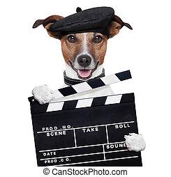 film, battant, planche, directeur, chien