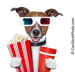 3D, anteojos, Película, palomitas, perro