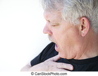 senior man gasping for breath - man has difficulty getting...