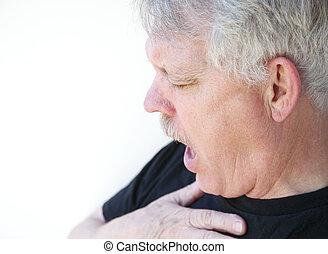 Sênior, homem, gasping, Respiração