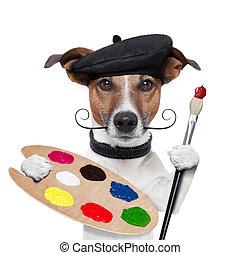 pintor, artista, cão