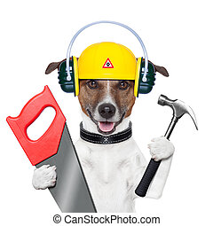 handyman dog - handyman and craftsman dog with hammer and...