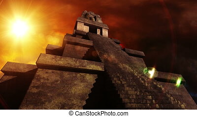 Maya Pyramid Dramatic Sunset 05 - maya, pyramid, south,...