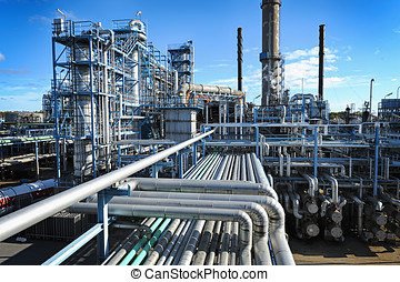 oil and gas refinery - overall view of large oil and gas...