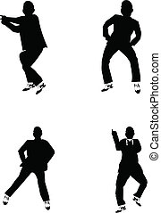 gangnam - popular dance craze in silhouette over white set