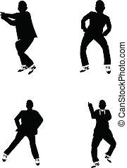 gangnam - popular dance craze in silhouette over white set
