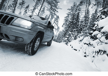 suv, car, driving in snow - 4x4, car, driving in snowy...