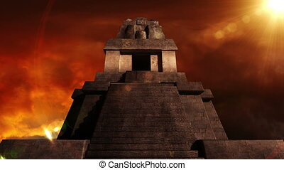 Maya Pyramid Dramatic Sunset 08