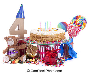 Happy birthday card - Number of age in a colorful studio...