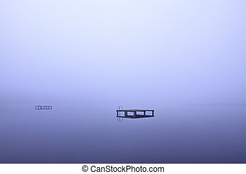 lake bank - this is a lake bank on a foggy september morning
