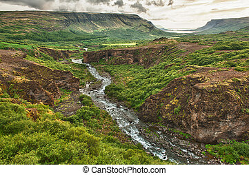 Glymur canyon - Canyon leading to Glymur, the highest of the...