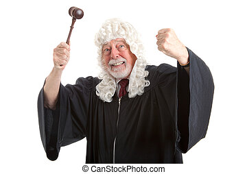 British Judge Frustrated and Angry - British judge in white...