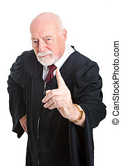 Stern Judge Wags Finger - Stern old judge wags his finger as...
