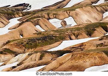 Landmannalaugar - Beautiful multicolored mountains and snow...