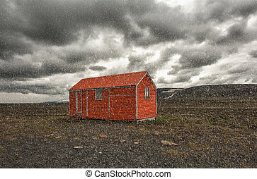 Storm is coming - Old red snowstorm shelter can save a life...