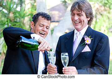 Gay Couple - Champagne Splash - Gay couple pouring champagne...