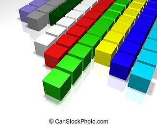 3D illustration-business statistics - 3D colour linear graph...