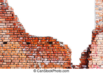 old destroyed brick wall of the building with a white...