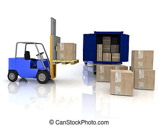 Loading of boxes in a container