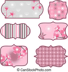 Cherry blossoms design elements, labels and stickers.