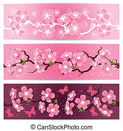 Cherry blossom flowers banner set.
