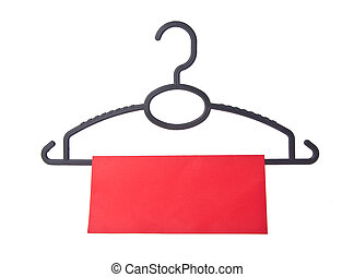 hanger coat hanger with tag on background - hanger coat...