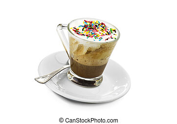 hot coffee with cream and candy pieces