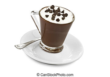 hot coffee with cream and chocolate pieces