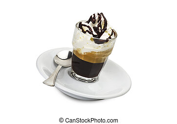 hot coffee with spray cream and chocolate
