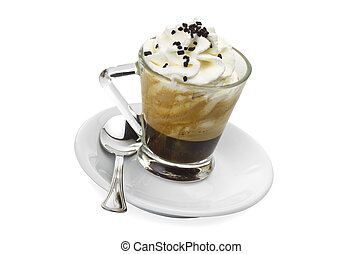 hot coffee with spray cream and chocolate pieces