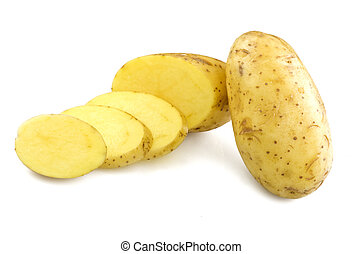 potato sliced  on the white background close up