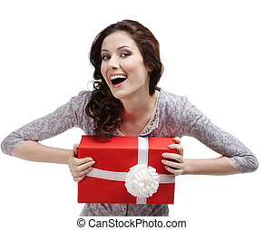 Laughing young woman hands a gift