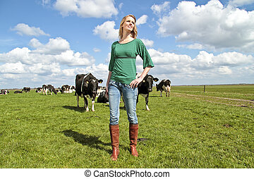 Peasant woman and her cows - Peasant woman in the...