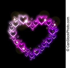 Pink Heart Border with Sparkles. Vector