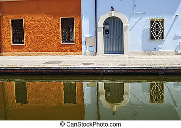 Comacchio Ferrara, Emilia Romagna, Italy - Colorful houses...
