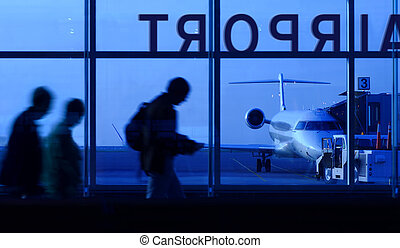 Boarding the airplane - An abstract, motion blur image of...