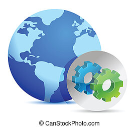 earth and sign showing gears