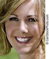 Beautiful Woman's Face - Close-up of a middle-aged woman's...